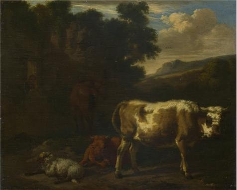 Perfect Effect Canvas ,the High Definition Art Decorative Canvas Prints Of Oil Painting 'Dirck Van Den Bergen - Two Calves, A Sheep And A Dun Horse By A Ruin,about 1665', 12x15 Inch / 30x38 Cm Is Best For Living Room Gallery Art And Home Artwork And Gifts