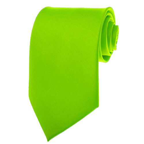 BRAND NEW Mens Necktie SOLID NEON GREEN Satin Neck TIE (Neon Color Neck Ties compare prices)