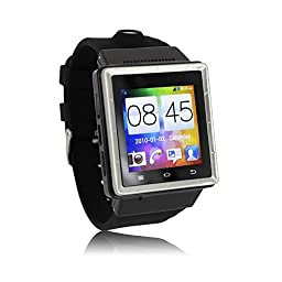 Flylinktech® Smartwatch Android WiFi Bluetooth with SIM 3G Smartwatch Phone GPS Wristwatch Unlocked 1G Dual Core CPU With 2.0 MP Camera (S6-Black)