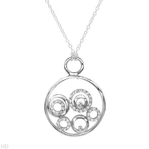 Sterling Silver 1.3 CTW Cubic Zirconia Circle Ladies Necklace. Length 18 in. Total Item weight 4.4 g.