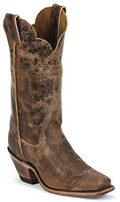 Buy Justin Boots BRL122 Ladies Bent Rail Square Toe Boot Tan Road by Justin