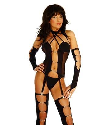 """LH-Dessous - 10770 """"BIG SET"""" Größe M-L. Sexy Gogo-6er-Set. Straps-Top mit 4 Strapshaltern aus Metall, am Nacken mit Klettverschluß , dazu passende Strümpfe, die Armstulpen und der String"""