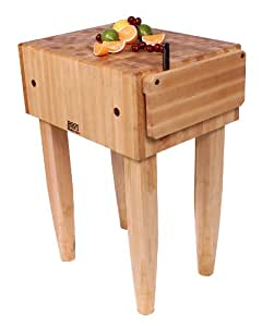 John Boos Pca2 24 by 18 by 10-Inch Maple Butcher Block with Knife Holder and Casters, Alabaster Legs