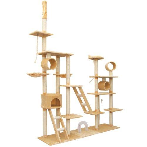 Produktabbildung von Riesengroßer Deckenhoher Kratzbaum Katzenbaum ca 190cm breit Katzen-Spielparadies Katzenhöhle Katzenkratzbaum
