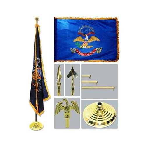 North Dakota 4Ft X 6Ft Flag Telescoping Flagpole Base And Tassel