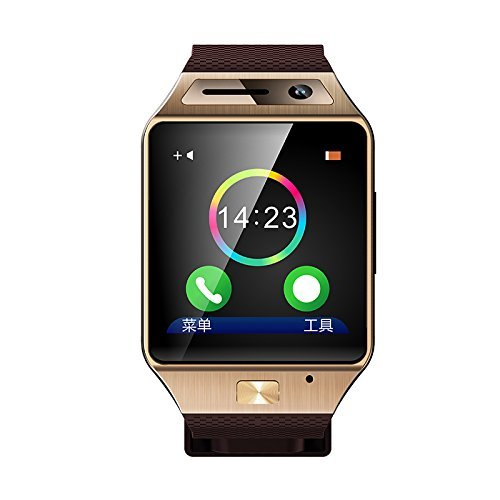 Luxsure Bluetooth Watch 1.54 Inch Smart Watch Phone Support SIM Card Smartwatch with Camera Wristwatch for Iphone Samsung HTC Lg Android Smartphones(gold)