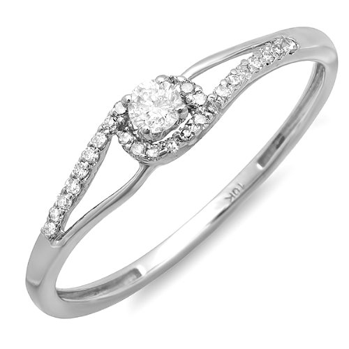 0.16 Carat (ctw) 10k White Gold Round Cut Diamond Ladies Promise Engagement Bridal Ring