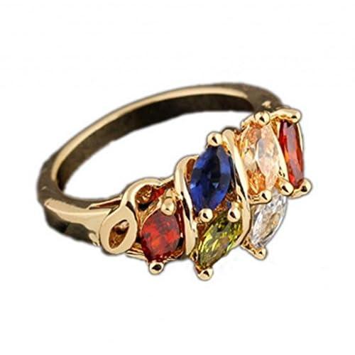 C-Princess 豪華感UPきらきら K18リング レディース 指輪 エレガント綺麗なデザインのゆびわ18金メッキ マルチカラー 14