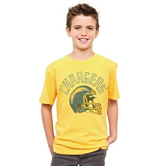 NFL San Diego Chargers Youth Kickoff Crew T-Shirt, Mustard(Yellow), 3T by Junk Food