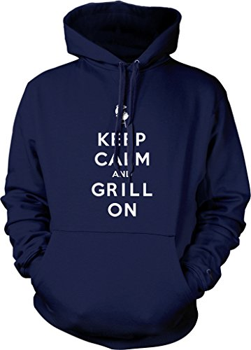 Keep Calm and Grill On, Barbecue, BBQ Hooded Sweatshirt, NOFO Clothing Co. XL Navy