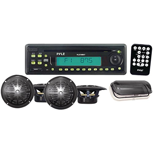 Pyle Plcd7Mrkt Waterproof Marine Am/Fm/Cd Player Receiver With 4 X 5.25-Inch Speakers And Splash Proof Radio Cover (Black)