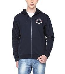 ADRO Premium Cotton Printed Zipper Hoodie Sweatshirt for Men (Navy Blue)