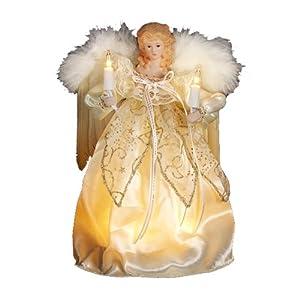 #!Cheap Kurt Adler 9-Inch 10 Light Ivory and Gold Angel Treetop