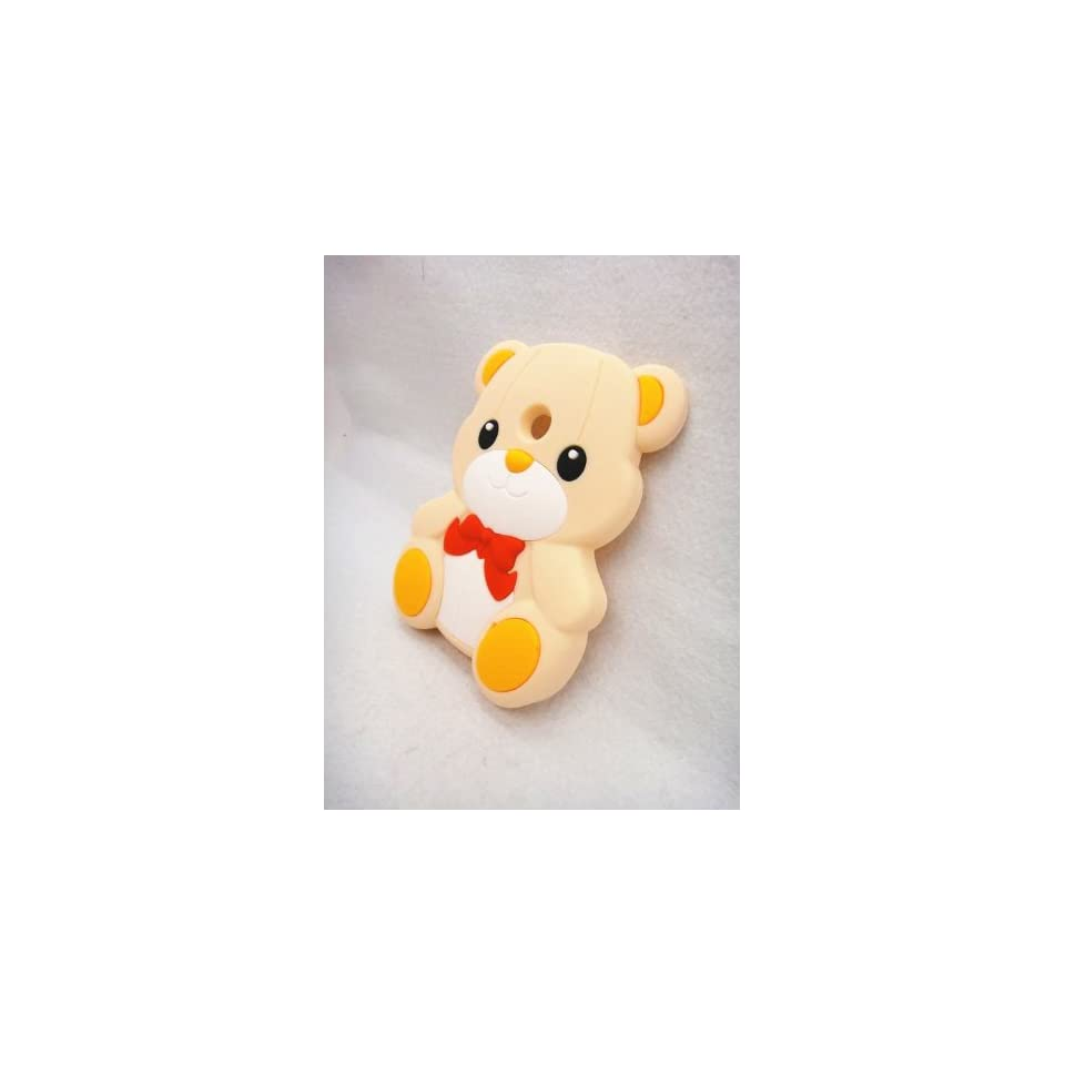 3D BOW Teddy Bear Soft Silicone Cover Case for NOKIA lumia 520 N520 CREAM Cell Phones & Accessories