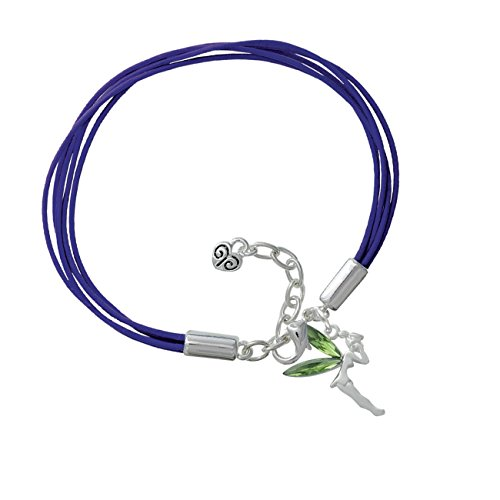 Large Fairy With Lime Green Wings Purple Leather Aruba Bracelet