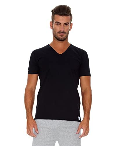 Rochas París Camiseta Manga Corta Algodón y Escote en V Negro
