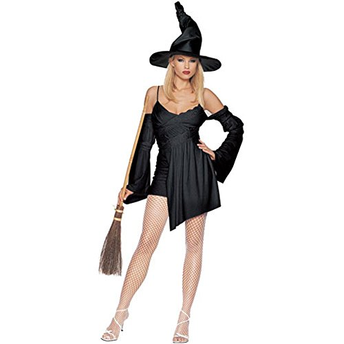 Adult Sexy Black Witch Costume (Size:Large 12-14)