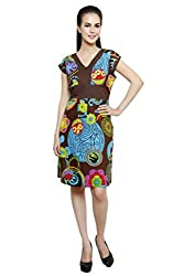 Anekaant Brown Multi Printed Cotton A-line Dress