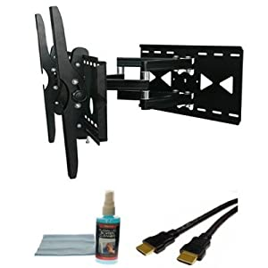 Opteka 32 to 60-Inch Plasma and LCD TV Articulating Dual Arm Tilting Wall Mount for HDTV Displays (Black