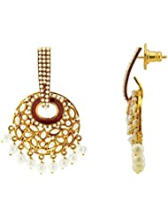 The Jewelbox Gold Plated Maroon Meenakari Pearl Large Jhumki Earring