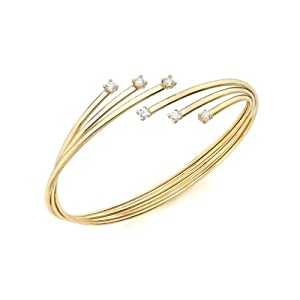 Carissima 9ct Yellow Gold Flexible Russian Style Cubic Zirconia Bangle