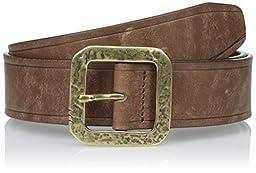 John Varvatos Men\'s 38mm Edge Heat Creased Leather Belt, Chocolate, 40