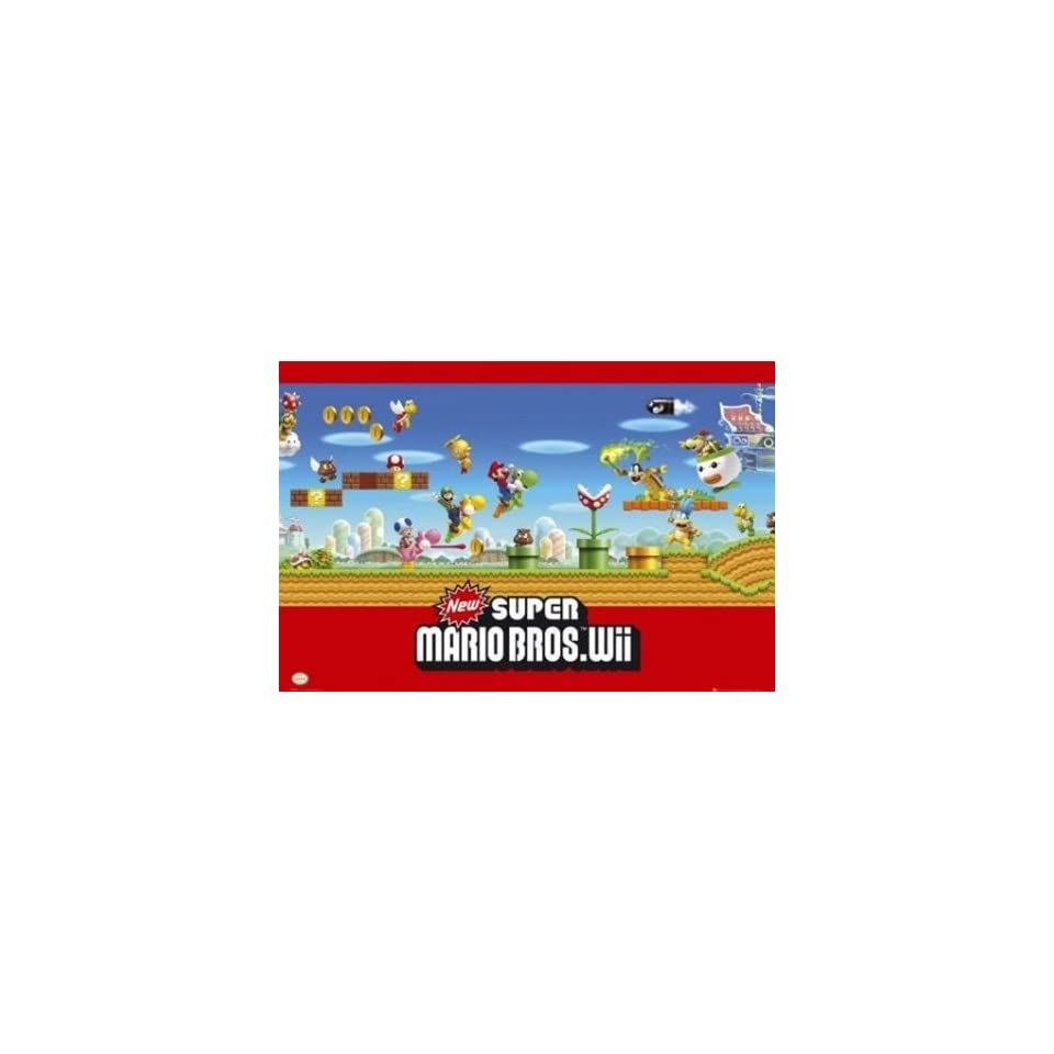 Super Mario Bros Nintendo Wii Video Game Poster 24 x 36 inches