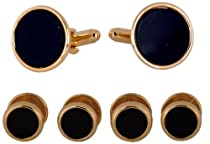 Tuxedo Cufflinks and Studs - Black Onyx with Gold-Tone with Gift Box