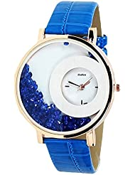 Rich Club Blue Stylish Free Diamond Dial Fancy Leather Watch For Women And Girls