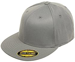 Original Blank Flexfit Flatbill Premium Fitted 210 Hat Cap Flex Fit Flat Bill Small/Medium - Dark Grey