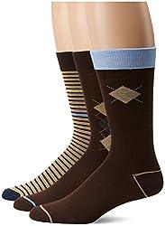 U.S. Polo Assn. Men's 3 Pack Argyle Stripe Crew Sock, Brown, 10-13/6-12
