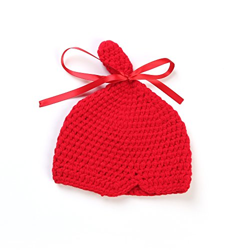 Touch Cute Newborn Infant Baby Girl Boy Handmade Crochet Knit Red Hat Photograph Prop front-212110