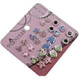 Pack of 12 Crystal Magnetic Stud Earrings for Girls Kids Women Mix color and design