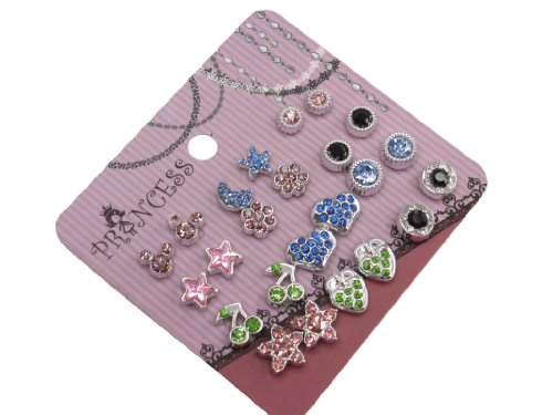 Pack of 12 Color Crystal Magnetic Stud Earrings for Girls Kids [B] (Clip On Earrings For Kids compare prices)