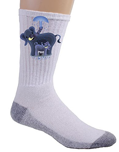 """""""Elephant Showers"""" Cute Mom & Baby Trunk Squirting - Crew Socks front-571706"""