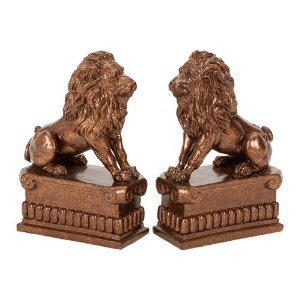Polystone Lion Bookend Pair by Asher Home Decorators