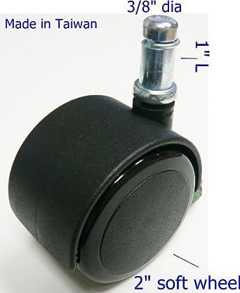 oajen 2 50mm soft wheel chair caster with 3 8 x 1 grip