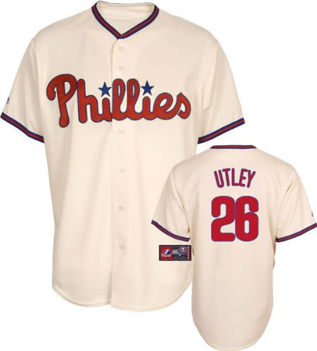 MLB Men's Philadelphia Phillies Chase Utley Ivory Alternate Short Sleeve 6 Button Synthetic Replica Baseball Jersey  (Ivory, Medium) at Amazon.com