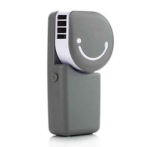 Portable Mini Air Condition USB Rechargeable Water Cooling Fan For Home Office Outdoor Smile Face Handheld Micro Cooler Fan (Grey)