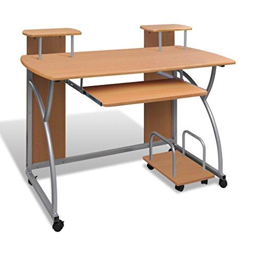 Tavolo Scrivania per Computer Laptop e Desktop Ripiano Mobile Cassetto Estraibile Tavolo da Ufficio/Tavolo per Studente Finitura (Marrone)