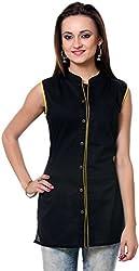Vedanta Women's Regular Fit Cotton Kurta (KICCSLPLN40Y-BLACK-S, BLACK, Small)