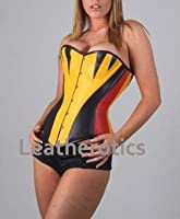 Yellow Leather Corset Bustier Steel Boned Over Bust Fitting 1270Y