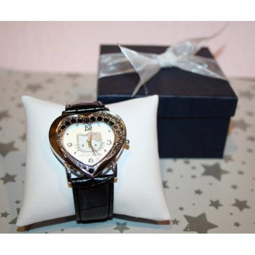 Hello Kitty Heart Shaped Quartz Wrist Watch in Black. Comes in Dark