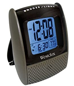 Westclox Digital LCD Travel Alarm Clock with Temperature Display and Protective Folding Case 72018