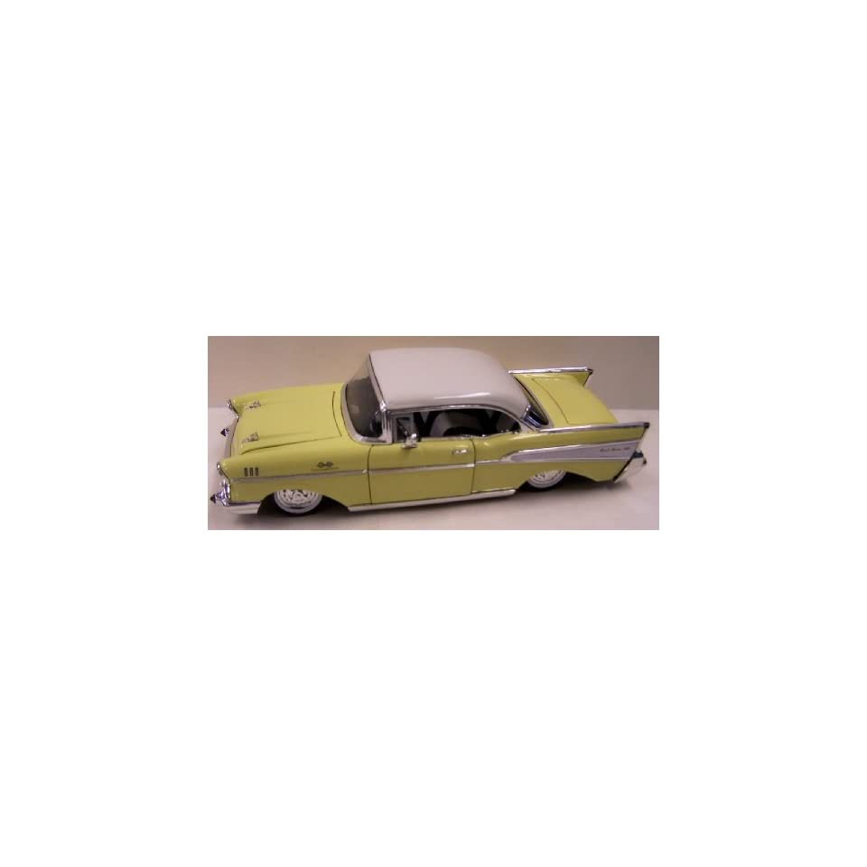 Jada Toys 1/24 Scale Diecast Showroom Floor 1957 Chevy Bel Air in Color Yellow with White Top