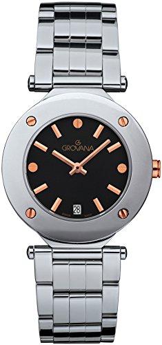 GROVANA 5079,1157 Reloj infantil con mecanismo de cuarzo para mujer Swiss esfera analógica y plateado correa de acero inoxidable de