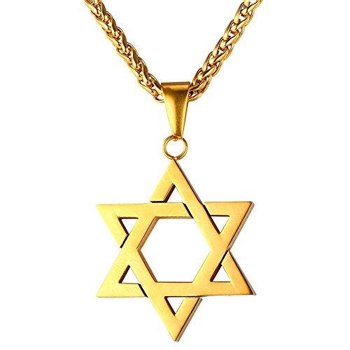 U7 Jewish Jewelry Magen Star of David Pendant Necklace Women Men Chain 18K Gold Plated Israel Necklace