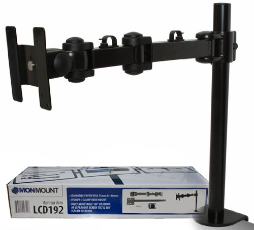 Monmount Lcd Monitor Extension Arm With 3 Points Articulation Supports Up To 27-Inch, Black (Lcd-1920B)
