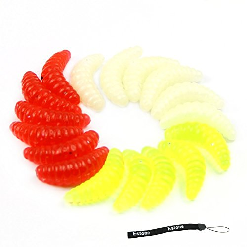 estone-assorted-50-pcs-random-color-soft-silicone-maggot-grub-worm-bait-fishing-lures