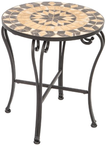Alfresco Home Loretto Indoor Outdoor Marble Mosaic Side Table